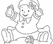 Coloring pages Baby and his bottle