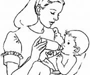 Coloring pages Baby and Mom