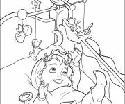 Free coloring and drawings Baby in bed Coloring page