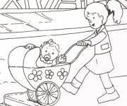 Free coloring and drawings Baby in his stroller Coloring page
