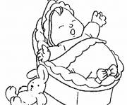 Free coloring and drawings Baby sleeping near his rabbit Coloring page