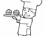 Coloring pages Baker with cakes