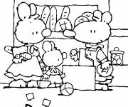Coloring pages Little White Rabbit at the bakery
