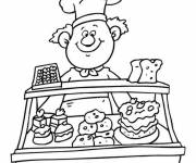 Coloring pages The baker at the pastry shop