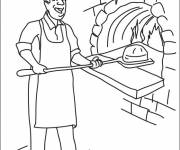 Coloring pages The baker puts the bread in the oven