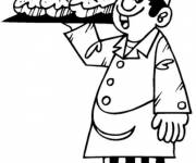 Coloring pages The baker takes the bread