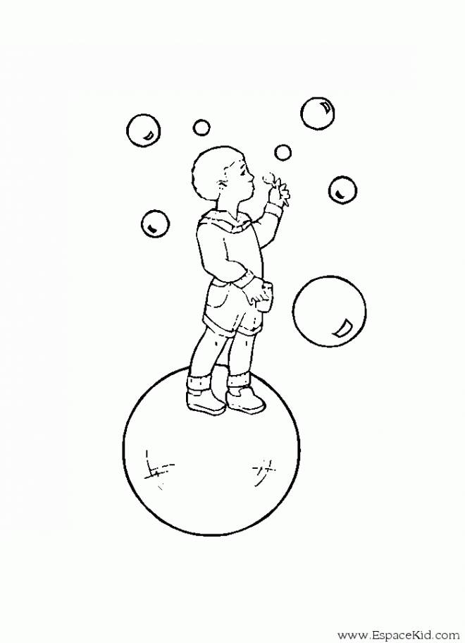 Free coloring and drawings A boy blows bubbles Coloring page
