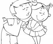Free coloring and drawings A boy hugs a girl Coloring page