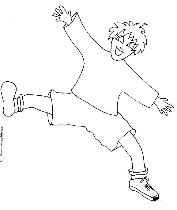 Free coloring and drawings A boy is having fun Coloring page