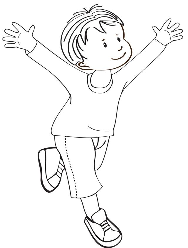 Free coloring and drawings A boy opens his arms Coloring page