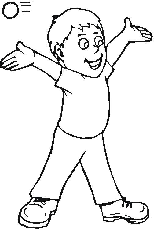 Free coloring and drawings A boy tries to catch the ball Coloring page
