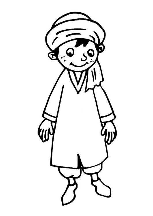 Free coloring and drawings A boy wears Arab clothes Coloring page