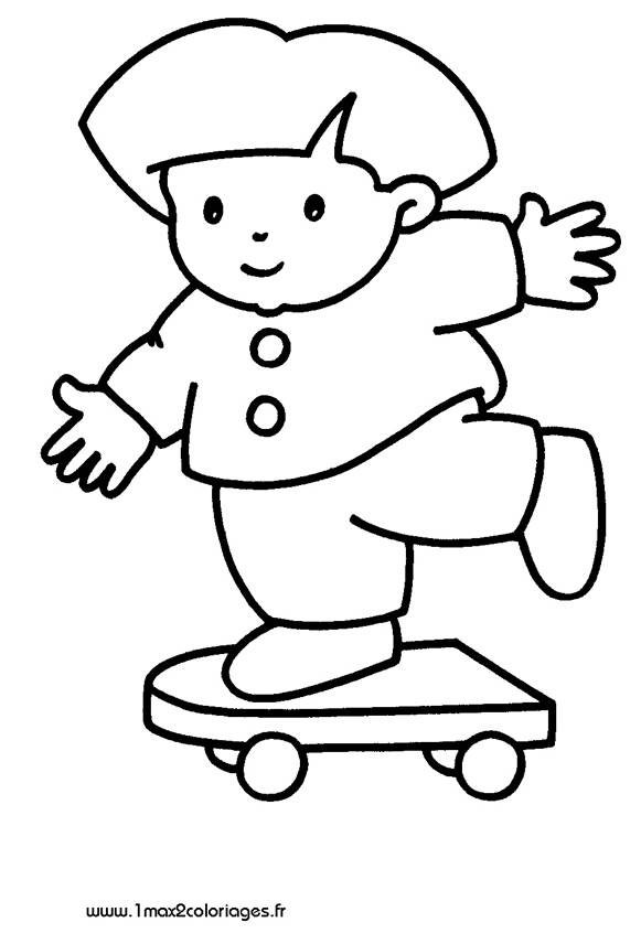 Free coloring and drawings A child on Skateboard Coloring page