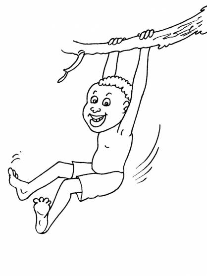 Free coloring and drawings A child plays on the tree Coloring page