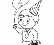 Coloring pages A child with his birthday present