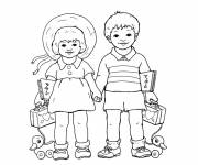 Free coloring and drawings A girl and a boy carry their things Coloring page