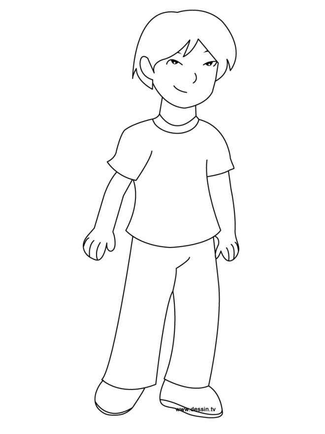 Free coloring and drawings A handsome boy Coloring page