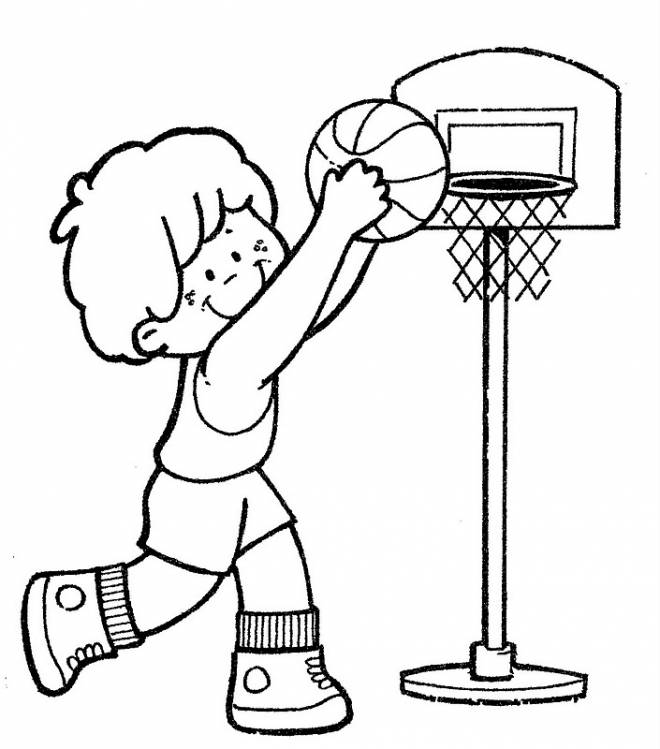 Free coloring and drawings A Little Basketball Player Coloring page
