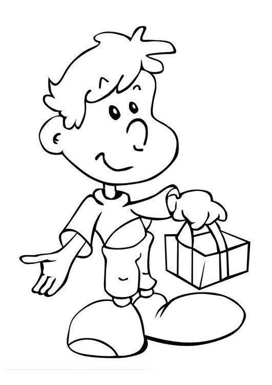 Free coloring and drawings A little boy carries a gift Coloring page