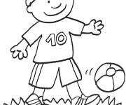 Coloring pages A little boy is playing outside