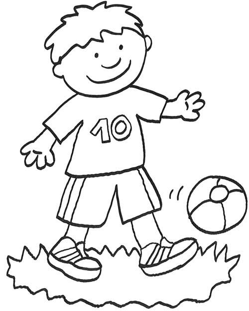 Free coloring and drawings A little boy is playing outside Coloring page