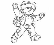 Free coloring and drawings A little boy on the way to school Coloring page