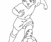 Free coloring and drawings A young soccer player Coloring page