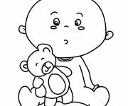 Free coloring and drawings Teddy bear and baby Coloring page