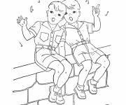 Free coloring and drawings Two boys sing Coloring page