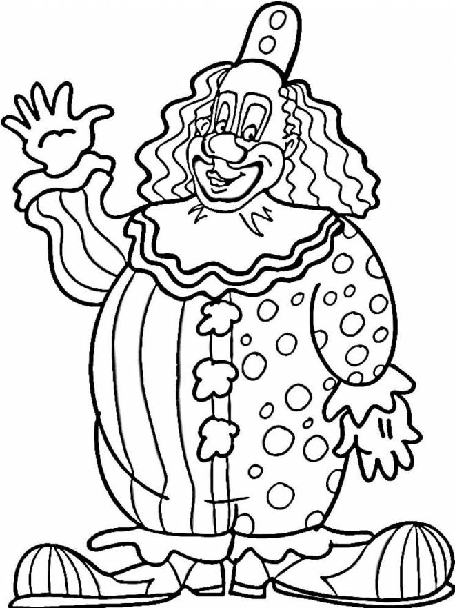 Free coloring and drawings A big clown greets you Coloring page