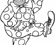 Coloring pages A clown dances with a duck and an umbrella