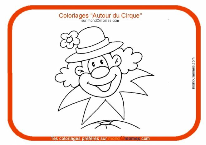 Free coloring and drawings A clown in a flowered hat Coloring page
