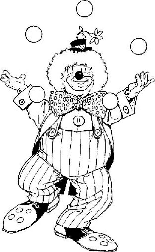 Free coloring and drawings A clown performing Coloring page