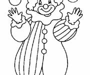 Coloring pages A clown plays with balls