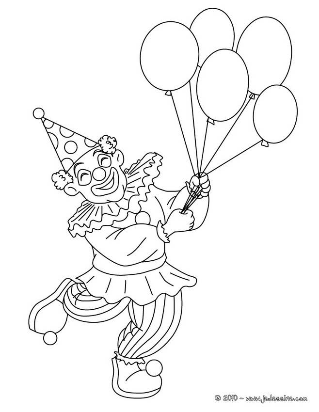 Free coloring and drawings A clown takes balloons in his hands Coloring page