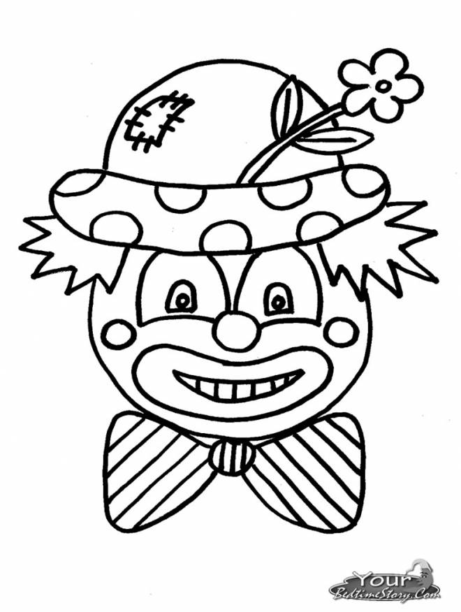 Free coloring and drawings A clown wears a flower on his hat Coloring page