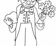 Coloring pages A clown with a bouquet of flowers and a heart in his hands
