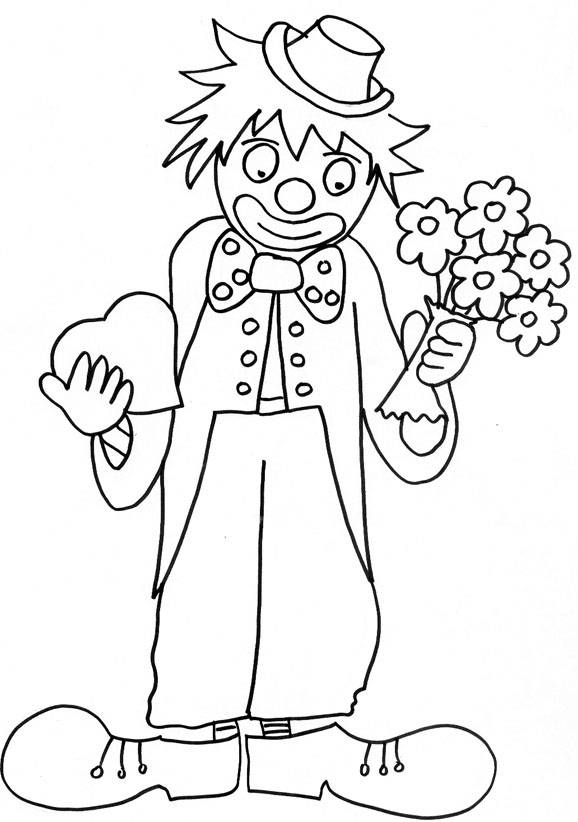 Free coloring and drawings A clown with a bouquet of flowers and a heart in his hands Coloring page