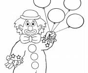 Coloring pages A clown with balloons