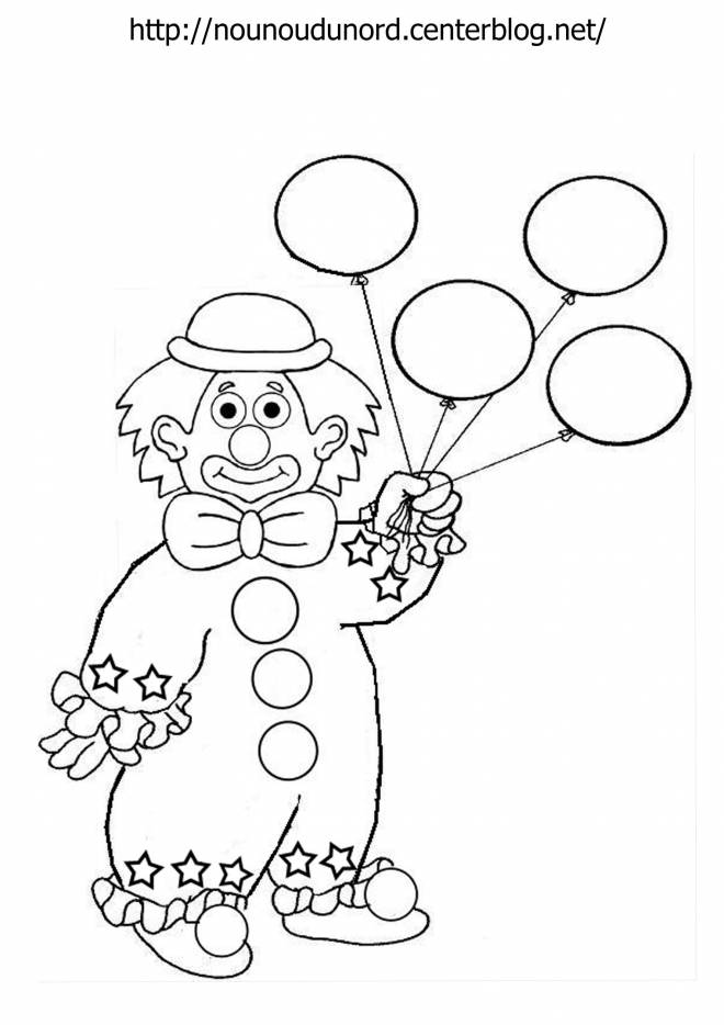 Free coloring and drawings A clown with balloons Coloring page