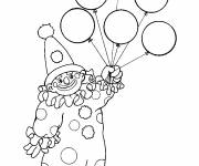 Free coloring and drawings Balloons in clown's hand Coloring page