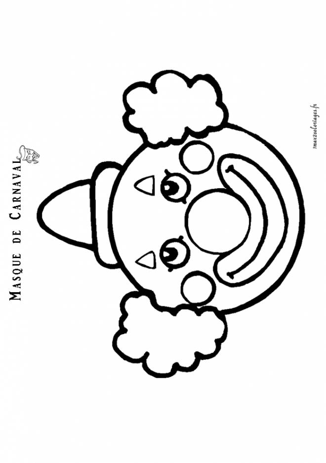 Free coloring and drawings Carnival clown mask Coloring page