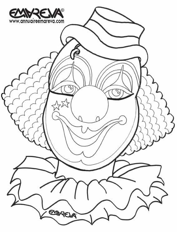 Free coloring and drawings Circus clown makeup Coloring page