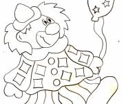 Coloring pages Clown and balloon
