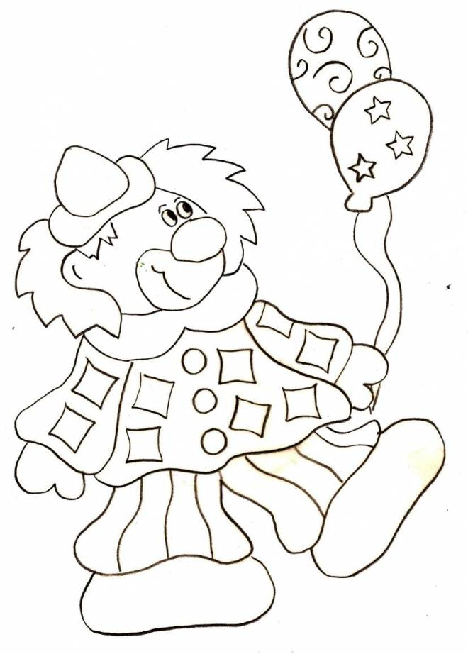 Free coloring and drawings Clown and balloon Coloring page