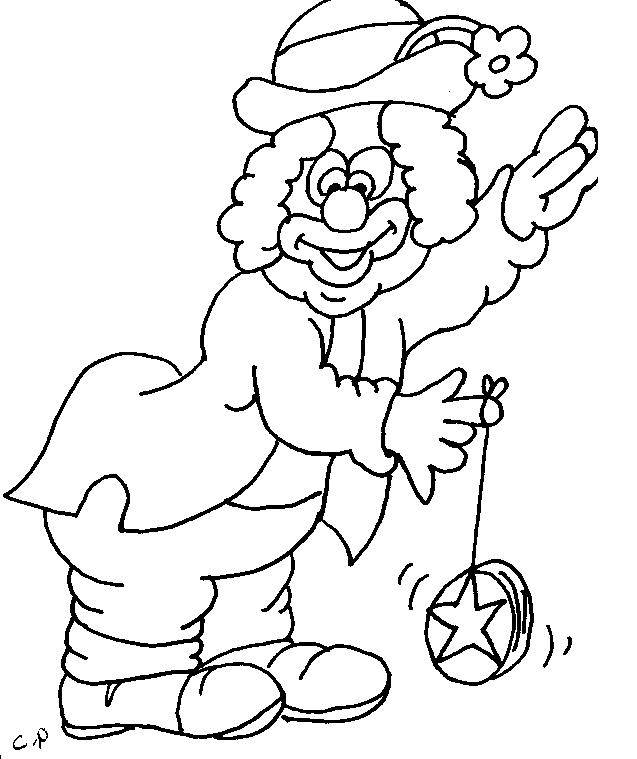Free coloring and drawings Clown and YoYo Coloring page