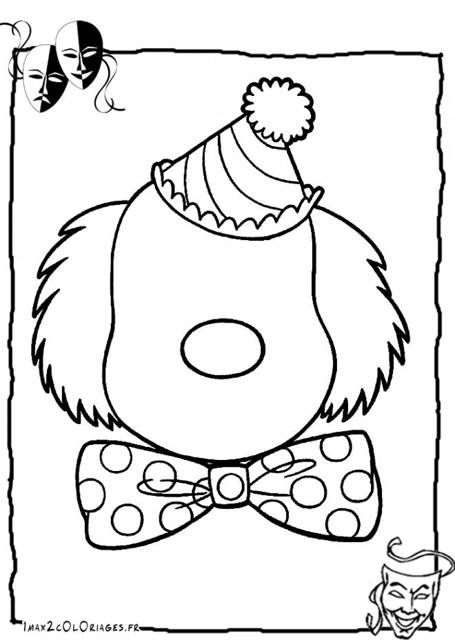 Free coloring and drawings Clown face without eyes and mouth Coloring page