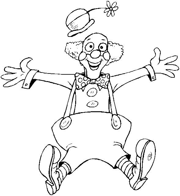 Free coloring and drawings Clown jumps in the air Coloring page