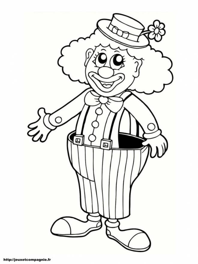 Free coloring and drawings Clown with big pants Coloring page