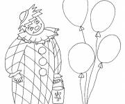 Coloring pages Clown with bucket in hand